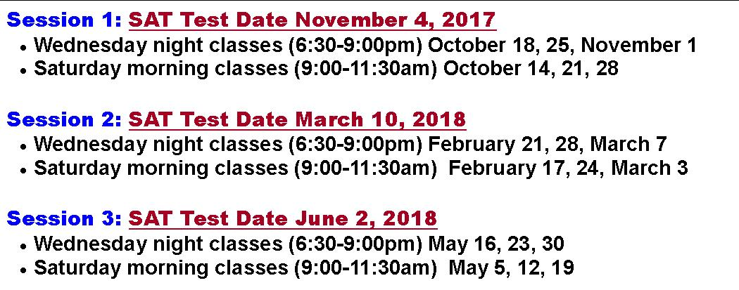 2017-2018 Test Dates REVISED with 2